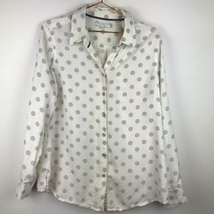 Foxcroft Polka Dot Button up Roll Tab Blouse 14